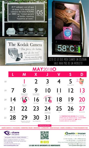 Calendario de Questión de Imagen: Mayo 2018